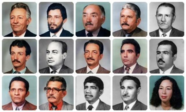 Fotos e datas de legislaturas de vereadores que participaram da história de Exu-PE
